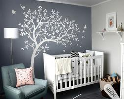 Large white tree wall decal set for baby nursery tree wall s