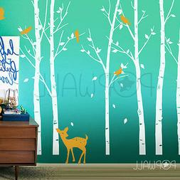 Leafy trees with fawn and birds wall decal sticker for nurse