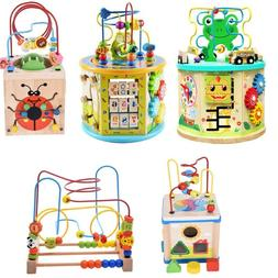 Baby Boys Girls Wooden Toddler Toys Circle First Bead Maze S