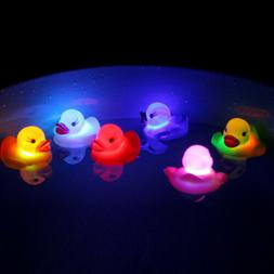 LED Flashing Light Rubber Floating Duck With Bath Tub Shower