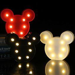 LED Mickey Mouse Nursery Baby Bedroom Head Night Lights Gift