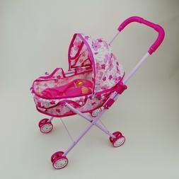 Little Girls Toy Sound Baby Doll Stroller Set Foldable Pink