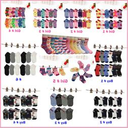 Lot 6 12Pairs Kids Crew Ankle Socks Toddler Boy Girl Casual