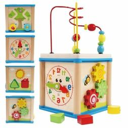 Lovely 5 In 1 Activity Cube Real Wood Educational Toys For 1