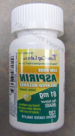 """Low Dose """"Baby"""" Aspirin 81mg ENTERIC COATED Time-Cap Labs 12"""