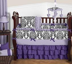 Luxury Purple Lavender Black White Damask Polka Dot Baby Gir