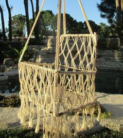 "Handmade Macrame Hanging Baby Swing Chair Natural Cotton 12"""