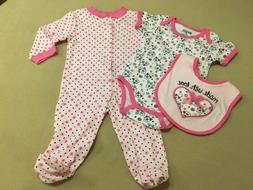 """Baby Gear """"Made With Love"""" Girl 3-piece outfit Sleeper Bodys"""
