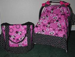 **MINNIE MOUSE** w/bows diaper bag/tote & Handmade Baby Car