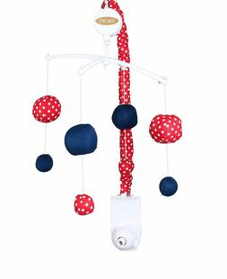 Bacati Mix and Match Musical Nursery Mobile, Navy/Red