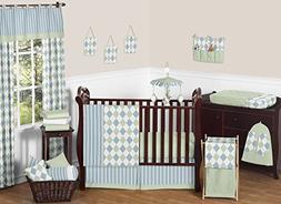 Modern Blue and Green Argyle Baby Boy Beddings 11pc Crib Set