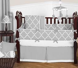 Sweet Jojo Designs Modern Gray and White Trellis Baby Beddin