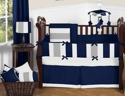 Sweet Jojo Designs Modern Navy Blue and Gray Stripe Print Bo
