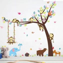 Monkey Animal Wall Stickers Jungle Zoo Tree Nursery Baby Kid
