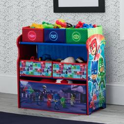 Multi Bin Toy Organizer Wood Fabric Sturdy Frame Play Room T