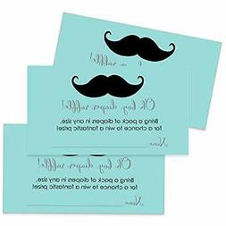 Mustache Diaper Raffle Tickets - Baby Shower Game Pack Of 25