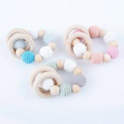 Natural Crochet Round Beads Wood Ring Bracelet Baby Sensory