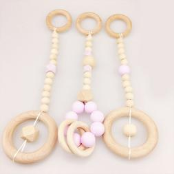 Natural Wood Ring Silicone Beads Baby Teething Activity Room