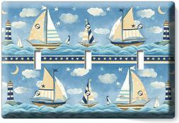 nautical baby nursery sailboats triple light switch