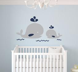 nautical mom and baby whale wall decal