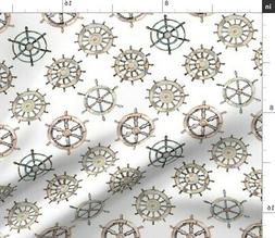 Nautical Wheel Baby Boy Nursery Decor Boat Fabric Printed by