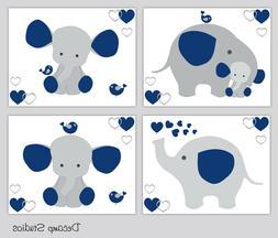 Navy Blue Elephant Nursery Wall Art Prints Baby Boy Room Dec