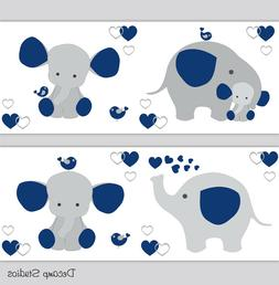 Navy Blue Elephant Nursery Wallpaper Border Baby Boy Wall Ar