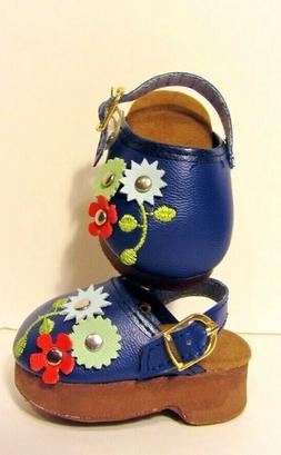 "NAVY BLUE Floral Doll Shoes Clogs Fits 18"" American Girl Clo"