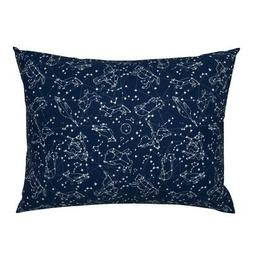 Navy Galaxy Stars Space Nursery Blue Constellation Pillow Sh