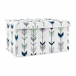 Navy Mint Grey Woodland Arrow Woodsy Nursery Fabric Toy Bin
