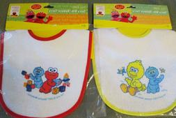 New 2 Sesame Street baby Infant  terry cloth Bibs Big Bird E