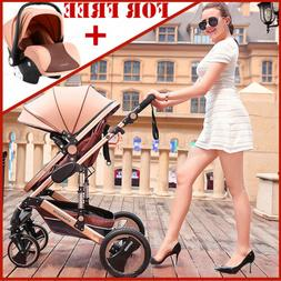 Luxury 3In1 Baby Stroller Travel System Pushchair Infant Bas