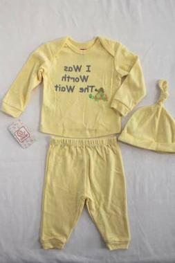 NEW Baby Boys 3 Pc Layette Set 3 - 6 Months Shirt Pants Hat