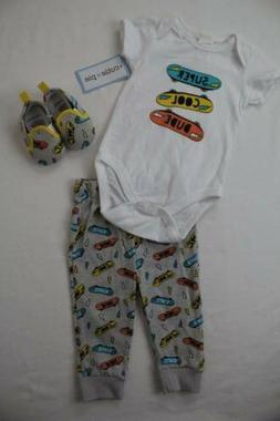 NEW Baby Boys 3pc Outfit 6 - 9 Month Bodysuit Pants Shoes La