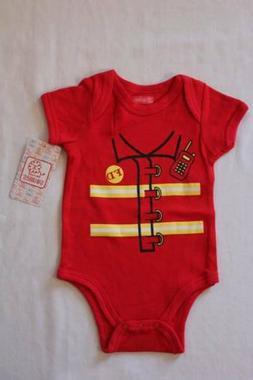NEW Baby Boys Bodysuit 6 - 9 Months Fireman Fire Fighter Cos