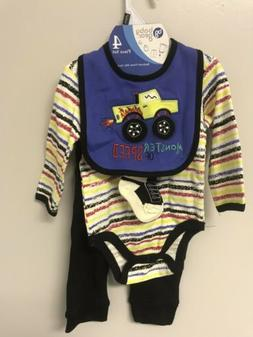 New BABY GEAR 4 Piece Set Bodysuit Pants Bib Socks Cars Truc
