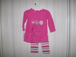 NEW! BABY GEAR GIRLS PINK CASCADE TOP & STRIPED PRINT LEGGIN