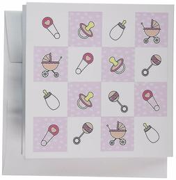 3dRose New Baby Gift Pink - Greeting Cards, 6 x 6 inches, se