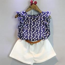 New Baby Girls Clothing Sets Summer Flower Printing Vest+Pan