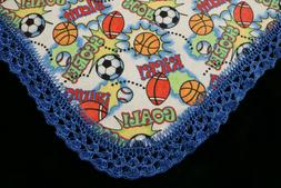 New Baby Shower Gift Receiving Blanket Boy's Hand Crocheted