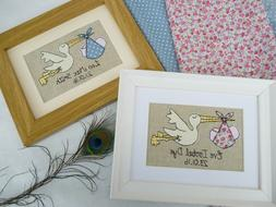 New Baby Stork Framed Picture choice of colour, frame & pers