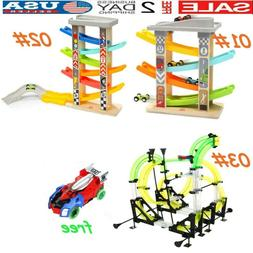 Kids Fun Track Car Toys Gifts Wood Car Ramp Children Toy+Fre