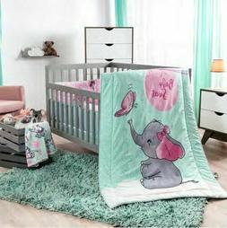 NEW LITTLE ELEPHANT PINK BABY GIRL NURSERY CRIB BEDDING SET