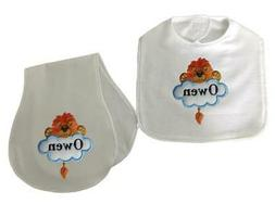 New Handmade Personalized Blue Embroidered Boy Lion Bib and