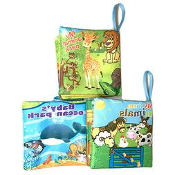 NEW SEALED Soft Cloth Baby Books Set Of 3 Bright Color Pictu