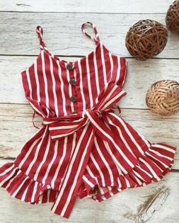 NEW Toddler Baby Girls Clothes Strap Striped Romper Fashion