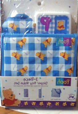 NEW DISNEY Winnie Pooh HUNNY BEAR 3 PC DIAPER BAG SET TOTE W