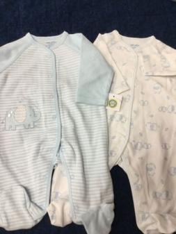 Newborn baby boy 2 footies Little Me baby blue & white strip