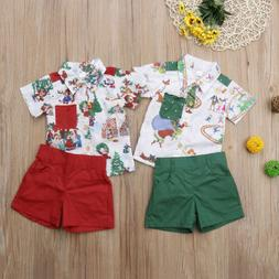 Newborn Baby Boy Christmas Clothes Novelty/Cartoon T-Shirt+S
