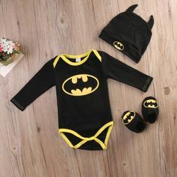 Newborn Baby Boy Girl Batman Romper Bodysuit Halloween Cloth